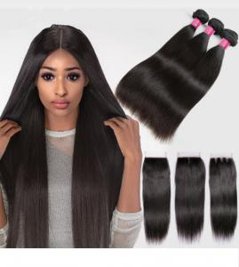 China Silky Straight Remy Indian Human Hair Weave Bundles With Closure on sale
