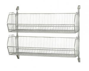 China Stackable Wire Grid Baskets , Chrome Plate Wall Mount Wire Mesh Basket on sale