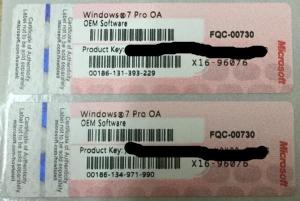 China Computer label Windows 7 Pro OA OEM Sticker COA with genuine OEM Product Key on sale