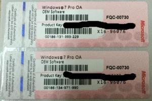 China Computer label Windows 7 Pro OA OEM Sticker COA with genuine OEM Product Key on sale