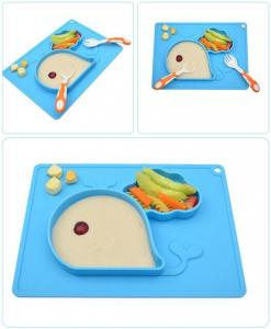 China Non-Slip BPA&PVC Free Blue Silicone Portable baby Placemat Mini Mat For Toddlers Infants on sale
