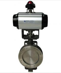 China Pneumatic actuated valve wafer type butterfly valve on sale