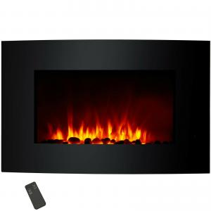 35 Curved Wall Mounted Electric Fireplace Heater Led Flame Effect
