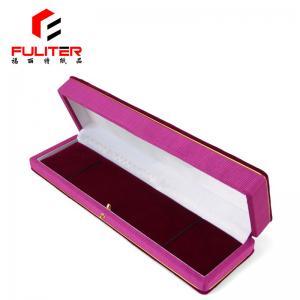 China Custom spring hinge long velvet jewelry gift box, leather fabric jewelry box on sale