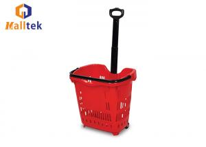 China 52L Supermarket Shopping Basket , Rolling Pull Along Shopping Basket With Two Wheels on sale