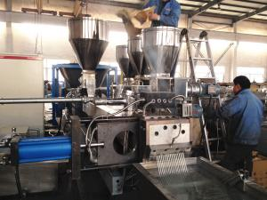 China PP / PE Plastic Granules Making Machine With Twin Screw Compounding Extruder on sale