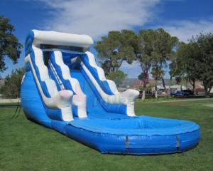 China Customized Size 0.55mm Summer Commercial Inflatable Slide With Pool on sale