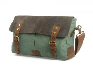 China CL-410 Light Green Vintage Style Canvas and Leather Bag Messenger on sale
