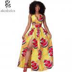Sexy Halter Neckline Short Top African Print Dresses Maxi Ankara Wax Batik Printing