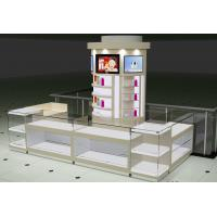 Famous brand Diamond Ring Dispaly Kiosks in White Glossy Painting with Glass Jewelry Display Showcase in LED light