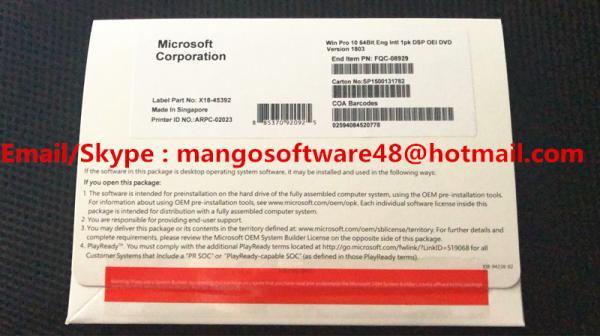 Win10 Pro 64 Bit Windows 10 Operating System English Version 1803