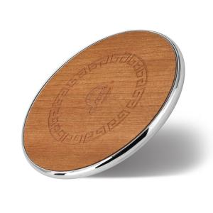 China 10w Desktop Round Wooden Wireless Charger , Iphone Wood Charger For Samsung Mobiles on sale