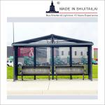 Outdoor glass bus shelters smoking stainless steel stop