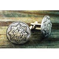 Beautiful Flower Custom Metal Cufflinks Nickel Plating 3D Embossed for Decoration