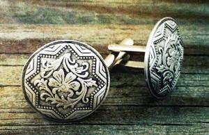 China Beautiful Flower Custom Metal Cufflinks Nickel Plating 3D Embossed for Decoration on sale