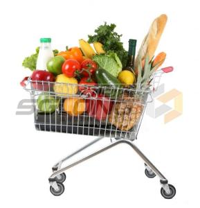 China Unfolding Supermarket Shopping Trolley , Metal Wire Shopping Carts on sale