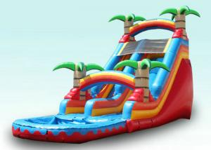 China Red Tropical Kids Garden Water Slide With Pool , Blow Up Water Slide Backyard Inflatable Water Slide on sale