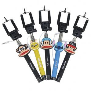 China Best selling selfie stick with aux cable,3d cartoon selfie stick monopod supplier