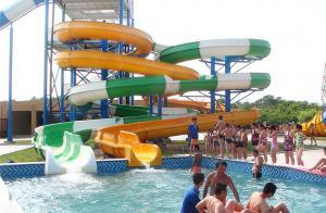 China Waterpark Equipment, Fiberglass Open / Close Spiral Slide, Custom Water Slides 11m Height on sale