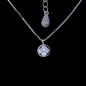 China Shining Jewelry Silver Cubic Zirconia Necklace Four Leaf Clover Pendant Necklace on sale