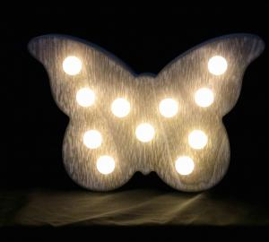 China Butterfly wooden led night lamp baby bedroom battery control wooden night light on sale