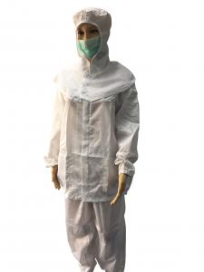 China Cleanroom ESD Safe Clothing Polyester Anti Static Jacket And Pants Class 1000 - 10000 on sale