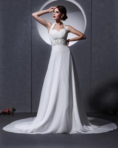 Quality Elegante em torno dos vestidos de casamento chiffon do pescoço com aberto para for sale