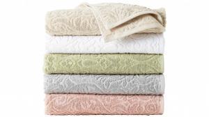 China 20% polyester 80% cotton jacquard colorbar cheap bath towel on sale
