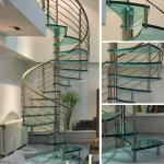 Customized modern spiral staircase with laminated tempered glass steps
