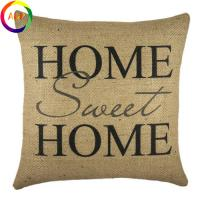 Pure linen 18*18in burlap pillow cover with wording printed on one side bottom hidden zip