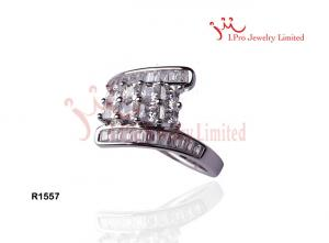 China Couples Diamond Cut 925 Sterling Silver Waterfall Rings For Marriage And Gift on sale