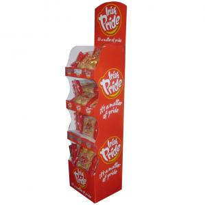 China 4 Layer Printing Custom Cardboard Display Stands Folding Corrugated Paper for Snacks on sale