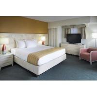 Fashion Design of Hotel room Interior Furniture by White painting Queen Bed with Side table and Storage Chest of Drawers