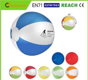 China Logo Print Blow Up Inflatable Beach Ball Customised Color 0.16mm 0.18mm Thickness on sale