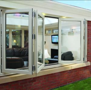 China Double panel folding glass windows prefabricated windows and doors on sale