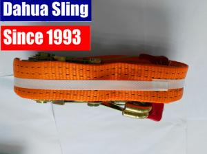 Quality 5000kg Red Rubber Coating Cargo Ratchet Tie Down Straps with Double J hook for sale