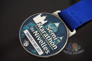 Quality Transparent Color Zinc Alloy Award Medals Antique Silver Plating With Ribbon for sale