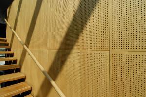 China Auditorium Melamine Surface Perforated Wood Sheets / Music Studio Acoustic Panels on sale