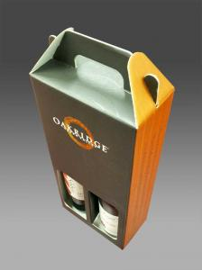 China Matte Lamination Corrugated Cardboard Wine Boxeswith Handle 8 * 4.5 * 12 Inch on sale