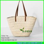 China LUDA leather handles straw handbags wholesale cornhusk straw handbags wholesale