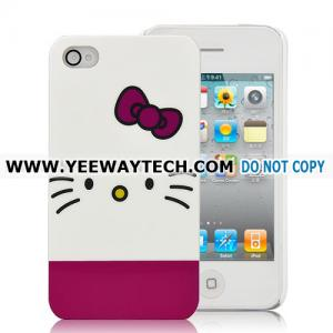 China Hello Kitty With Bowknot Plastic Hard Case For iPhone 4 (Verizon,AT&T,iPhone 4S) - Magenta / White on sale