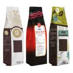 Standup Zip Lock Coffee Packaging Bags Quad Seal / Coffee Bag with Valve Gravure Printing