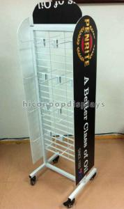 China White Coated Wire Metal Supermarket Display Shelves Floor Standing With 4 Casters on sale