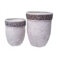 Contemporary Round Cement Garden Planters Cement Flower Pots For Courtyard / House