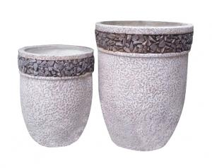 China Contemporary Round Cement Garden Planters Cement Flower Pots For Courtyard / House on sale