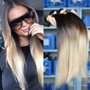 China Ombre Brazilian Straight Hair Bundles Three Tone Blonde Ombre Human Hair Weave 1b/4/27 on sale