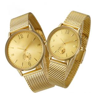 China IP Plated Quartz Gold Watch OEM Custom Logo With Stainless Steel Mesh Band on sale