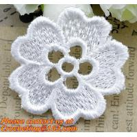 China white flower Embroidery Lace patch motif applique trim headband hair bow garment clothing on sale