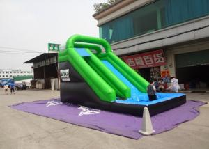 China Plato Material Sewing Inflatable Wet Slide , Grenn And Black Water Inflatable Slide on sale