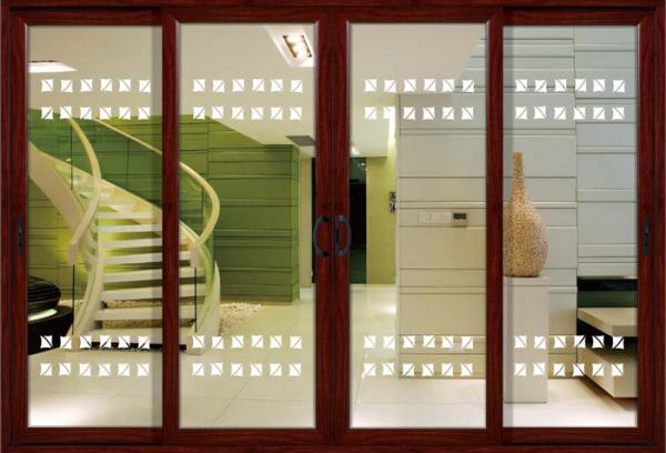 14mm Profile Thickness White Red Wood Aluminum Sliding Glass Doors